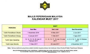 Tarikh MUET 2017